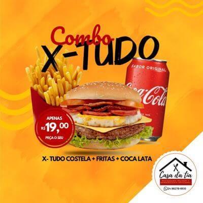 Promoção: X Tudo Costela + Fritas + Coca Cola 350ml