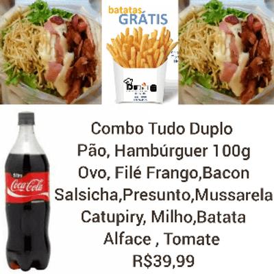 Combo Tudo Duplo - 2 Sanduíches + Coca Cola 1L + Batata Frita