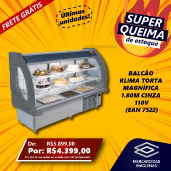 BALCAO KLIMA TORTA MAGNIFICA 1.80M CINZA 110V