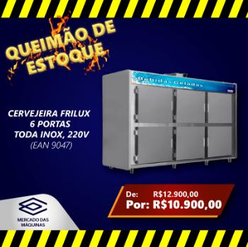 CERVEJEIRA FRILUX  6 PORTAS TODA INOX 220V OFERTA